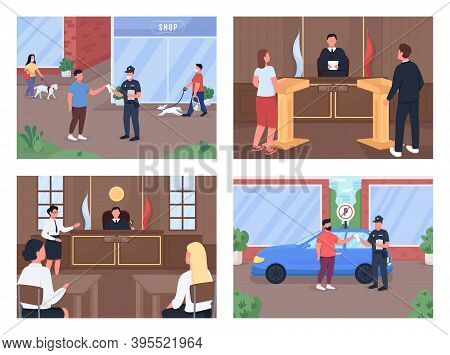 Legal Procedure Flat Color Vector Illustration Set. Trial With Attorney And Judge. Police Officer Gi
