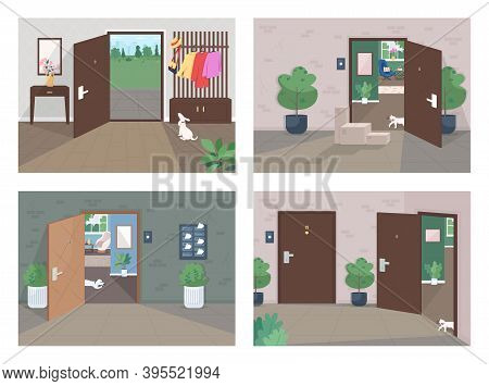 Home Delivery Service Flat Color Vector Illustration Set. Shipping Packages To Door. Empty Room. Par