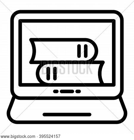 Ebook Online Stack Icon. Outline Ebook Online Stack Vector Icon For Web Design Isolated On White Bac