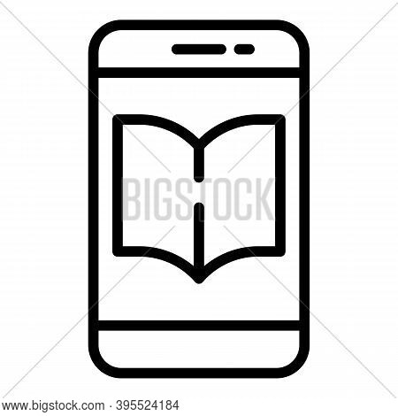 Literature Phone Ebook Icon. Outline Literature Phone Ebook Vector Icon For Web Design Isolated On W