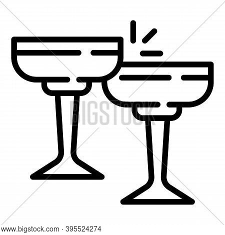 Cheers Cocktail Glasses Icon. Outline Cheers Cocktail Glasses Vector Icon For Web Design Isolated On