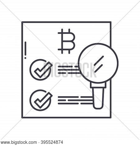 Data Confirmation Icon, Linear Isolated Illustration, Thin Line Vector, Web Design Sign, Outline Con