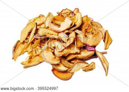 Tasty Dried Apple Close Up Slices Isolated On White Background
