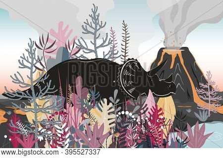 Triceratops Dinosaurs Walk Through A Forested Area To The Lake. Volcano Landscape Background. Vector