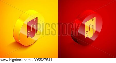 Isometric Oath On The Holy Bible Icon Isolated On Orange And Red Background. The Procedure In Court.
