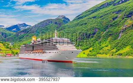 Cruise ship in Geirangerfjord Norway, Europe. Mountains And Geirangerfjord  View