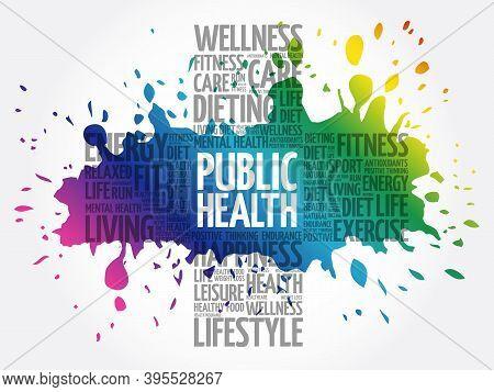 Public Health Word Cloud, Health Cross Concept Background