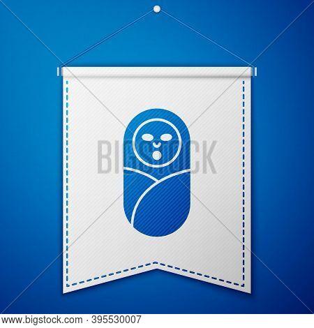 Blue Newborn Baby Infant Swaddled Or Swaddling Icon Isolated On Blue Background. Baby Kid Child Wrap