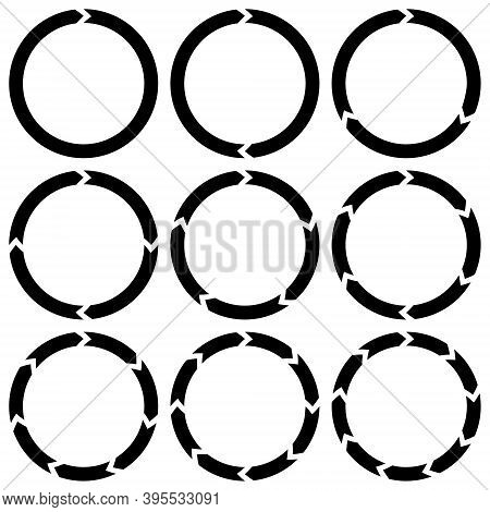 Ring Is Broken Into Sectors Of Circular Arrows Icon Vector Infographics Download Loading, Set Icons