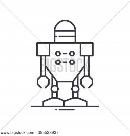 Cyborg Robot Icon, Linear Isolated Illustration, Thin Line Vector, Web Design Sign, Outline Concept