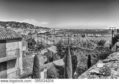 Aerial View Over The Vieux Port (old Harbor) And The City Centre Of Cannes, Cote D'azur, France