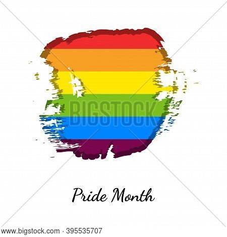 Abstract Lgbtq Flag. Pride Month. Bright Rainbow. Modern Design For Clothes, Packaging, Paper, Cover