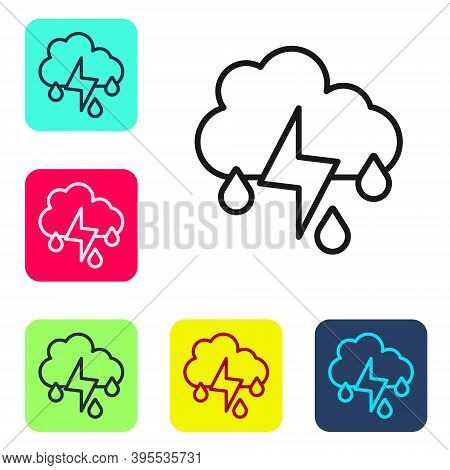 Black Line Cloud With Rain And Lightning Icon Isolated On White Background. Rain Cloud Precipitation