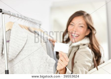 Gift Card Woman Shopping Clothes