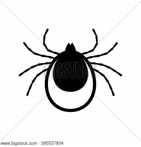 Tick Icon Vector. Mite Sign Isolated On White Background. Encephalitis Skin Parasite Silhouette.