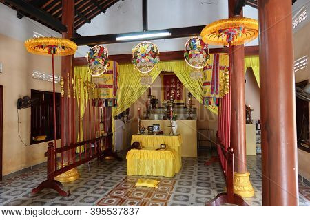 Hoi An, Vietnam, November 19, 2020: One Of The Worship Rooms At The Cao Dai Temple In Hoi An