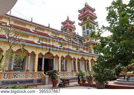 Hoi An, Vietnam, November 19, 2020: Side Facade Of The Cao Dai Temple In Hoi An