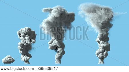 4 Renders Of Dense Gray Smoke Column As From Volcano Or Large Industrial Explosion - Disaster Concep
