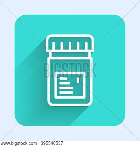 White Line Biologically Active Additives Icon Isolated With Long Shadow. Green Square Button. Vector