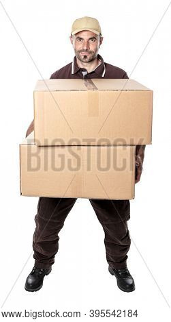 man courier shipping with hat and parcels in hand. isolated on white.