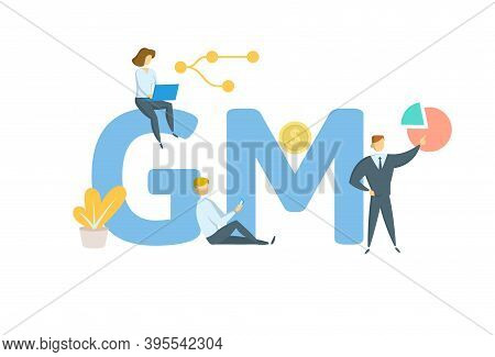 Gm, Gross Margin. Concept With Keywords, People And Icons. Flat Vector Illustration. Isolated On Whi