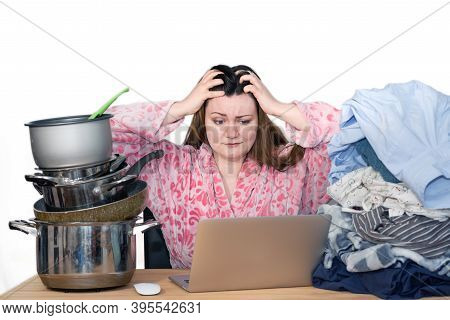 Woman Working From Home And Trying To Juggle Between Laundry, Ironing Clothes, Cooking, Washing Pots