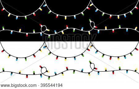 Christmas Light Set. Colorful String Fairy Lights. Cartoon Holiday Festive Xmas Decoration. Lightbul