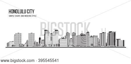 Cityscape Building Abstract Simple Shape And Modern Style Art Vector Design - Honolulu City