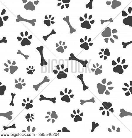 Pet Paw And Bones Seamless Pattern Icon. Animal Footprint - Cat, Dog, Bear. Template Design Texture