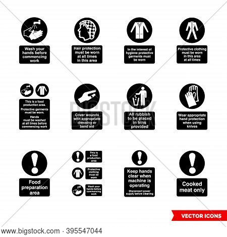 Health Hygiene Mandatory Signs Icon Set Of Black And White Types. Isolated Vector Sign Symbols. Icon