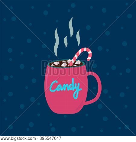 Marshmallow With Candy In A Cup Of Chocolate. White And Pink Christmas Candy Lollipop Cane. A Handfu