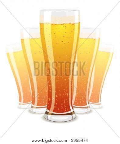 Vector Illustration Of Beer Glasses