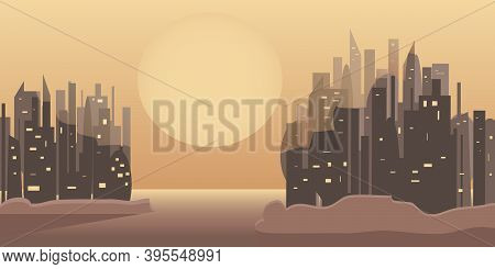 Multifaceted Silhouette Of Two Megacities In The Rays Of The Rising Or Setting Sun.