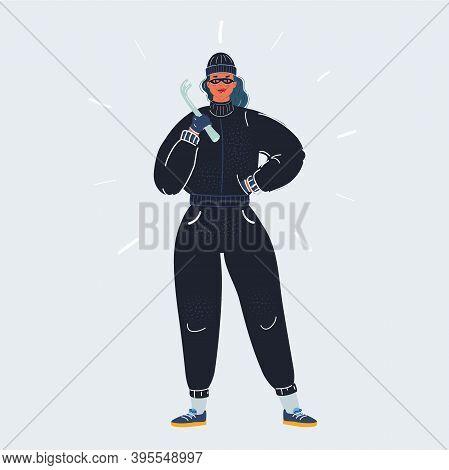 Vector Illustration Of Masked Female Burglar With Crowbar On White Background.