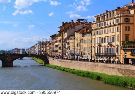 Florence City View With Arno River. Old Town Architecture In Florence. Tuscany, Italy.