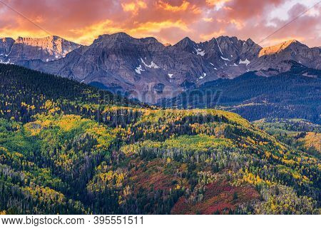 Colorado Rocky Mountains Scenic Beauty. Autumn Sunrise In The San Juan Mountain Range.
