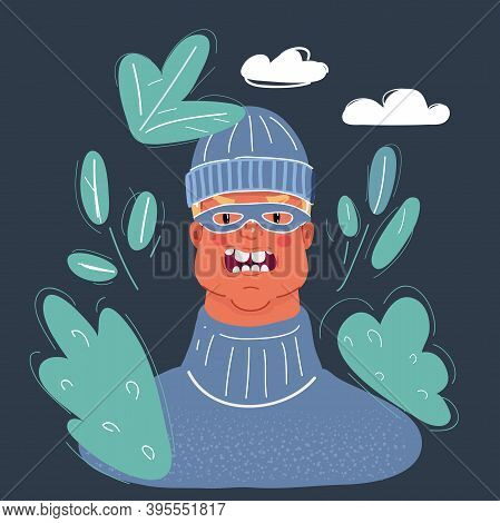 Vector Illustration Of Burglar Man In Mask Face At Night On Dark Background.