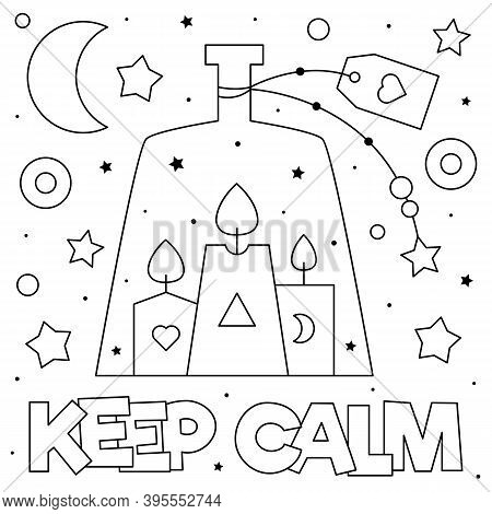 Keep Calm. Coloring Page. Vector Illustration Of Candles.