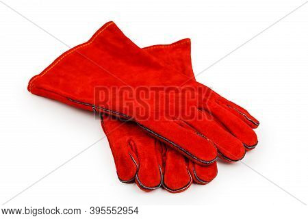 Welding Gloves, Welding Equipment, Gloves Isolated On A White Background, Protective Clothing.