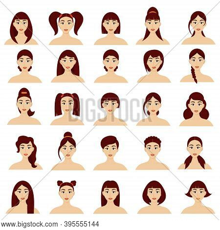 Set Of Women's Hairstyles. Beautiful Young Brunette Girls With Different Hairstyles Isolated On A Wh