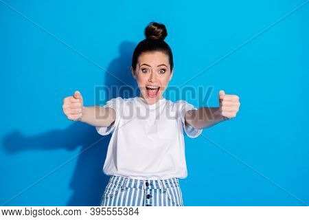 Portrait Of Her She Nice Attractive Pretty Lovely Funny Cheerful Glad Girl Holding In Hands Turning