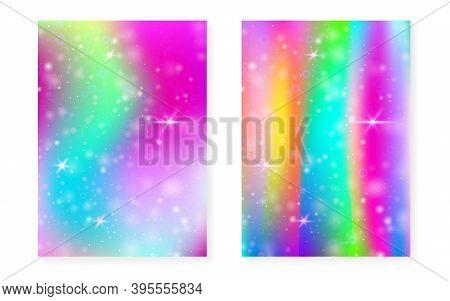 Princess Background With Kawaii Rainbow Gradient. Magic Unicorn Hologram. Holographic Fairy Set. Vib