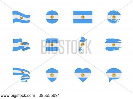 Flags Of Argentina - Flat Collection. Flags Of Different Shaped Twelve Flat Icons.