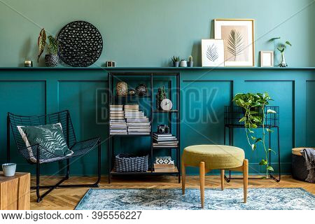 Interior Design Of Living Room With Armchair, Design Pouf, Coffee Table, Shlef, Basket, Carpet And E