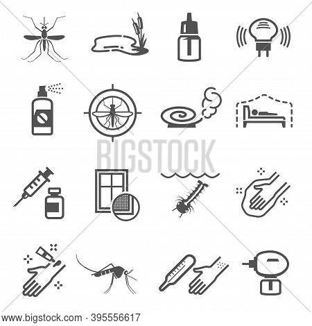 Mosquito, Insect Protection Linear Icons Set Isolated On White. Anti-mosquito Screen Pictograms.