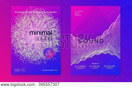 Music Fest. Cool Concert Invitation Set. Dynamic Gradient Shape And Line. Music Fest Neon Flyer. Ele