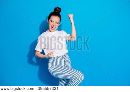 Portrait Of Her She Nice Attractive Pretty Lovely Glad Ecstatic Cheerful Cheery Girl Rejoicing Havin