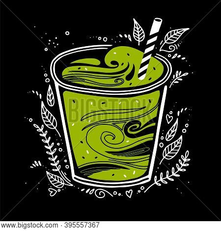 Smoothie Fresh. Detox Smoothie In A Glass With A Straw In Doodle Style. Vector, Black Background. Gr