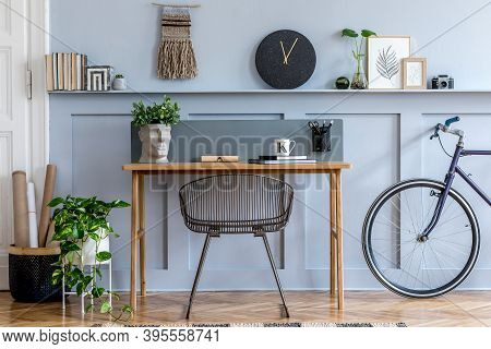 Scandinavian Interior Design Of Home Office Space With Wooden Desk, Modern Chair, Wood Paneling With