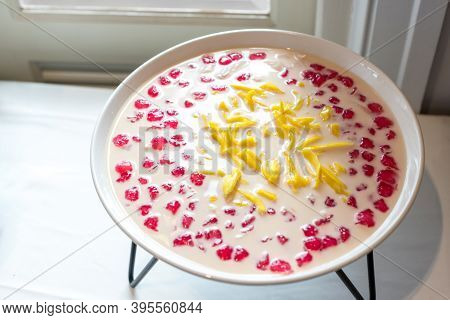 Thai Dessert Is Thai Name Tubtimgrob , Made Of Water Chestnuts Dipped In Red Food Coloring, Coconut